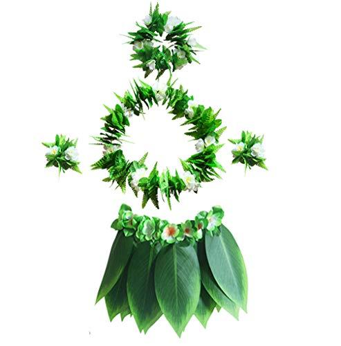 Boys Girls Hawaiian Luau Sun Flowers Bracelets Green Edge Leaf Hula Costume Set (5Pcs)]()