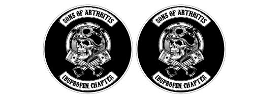 Sons of Arthritis Anarchy Ibuprofen Chapter Oldschool Biker Sticker Decal Pegatinas Aufkleber/Plus Coconut Shell Keychain Ring/Chopper Outlaw 1% MC Car Truck Bumper Bike Notebook Skateboard ()