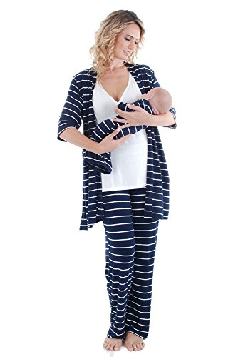 Everly Grey Women's Roxanne 5 Piece Maternity and Nursing PJ Pant Set with Robe...