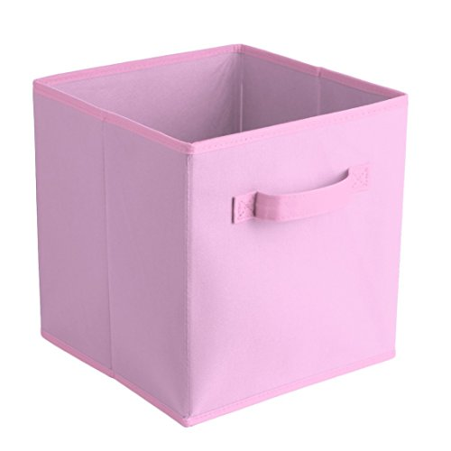 Uworld Single Handle Nonwoven Storage Bins,Foldable Cube Organizers Basket Without Cover (Pink)