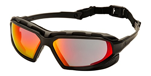 Pyramex Safety Highlander XP Eyewear, Black-Gray Frame/Sky Red Mirror Anti-Fog - Goggles Lens Red