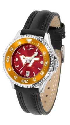 (SunTime Virginia Tech Hokies Competitor Ladies AnoChrome Watch with Leather Band and Colored Bezel)