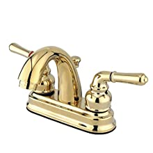 "Kingston Brass GKB5612NML Naples 4"" Centerset Lavatory Faucet, Polished Brass"