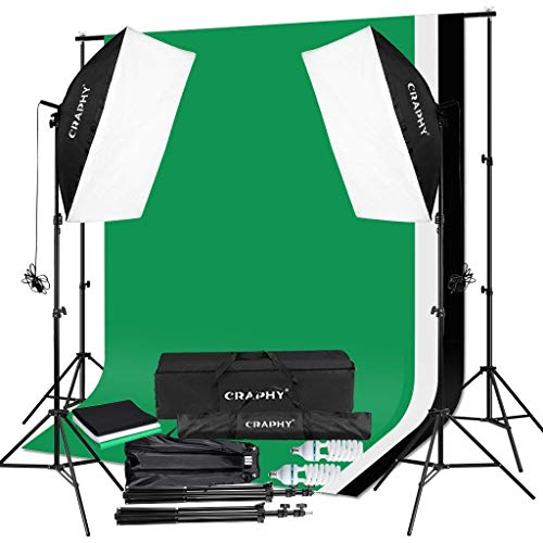 CRAPHY 50CMx70CM 2x125W 5500K Photography Video Studio Softbox Continuous Lighting Kit Equipment 1.8Mx2.8M Muslin Backdrop Kits (Black,White,Green),3Mx2M Background Support System,Portable Bag