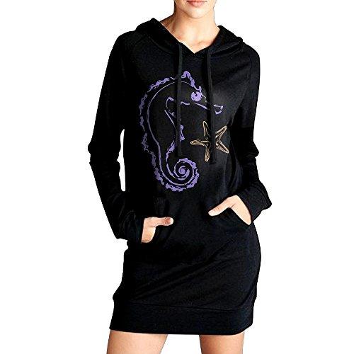 Seahorse Womens Long Sleeve (Women's Long Fleece Seahorse Long Sleeve Sweatshirt Tops For Women)