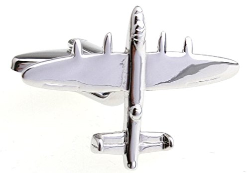MRCUFF Airplane Plane Bomber Jet Pilot Pair Cufflinks in a Presentation Gift Box & Polishing Cloth