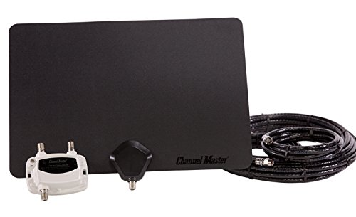 Channel Master Amplified FLATenna Duo Indoor TV Antenna Black Coaxial Cable Bundle - 50 Mile Range