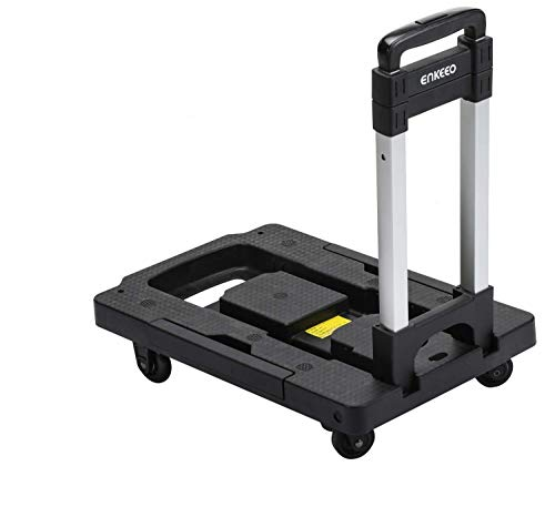 ENKEEO Foldable Hand Truck 300 lbs Capacity - Collapsible 360° Rotating Platform Cart Dolly with Swivel Locked Casters Trolley for Luggage, Travel, Shopping, Auto, Moving and Office Use