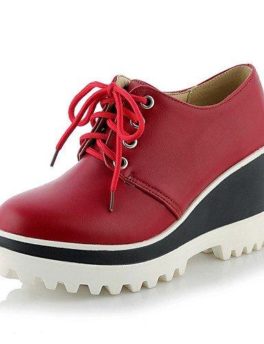 5 5 White Red Semicuero Cn41 Eu42 Plataforma Cuñas Eu40 Cuña U Tacones Rojo Zapatos us9 negro Zq Uk7 Punta Cn43 Casual Tacón Vestido De Redonda us10 Uk8 Mujer Exterior Hug BR64H
