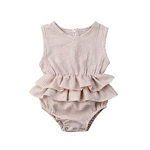 Urkutoba 2019 Infant Baby Girl Sleeveless Romper Bodysuits Cotton Fibre Flutter Sleeve One-Piece Romper Jumpsuit Outfits (Coffee, 0-6 Months)
