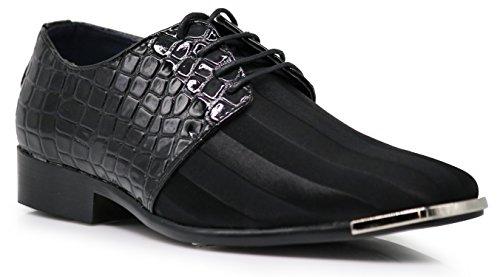 JY2N Men's Satin Metal Silver Tip Oxfords Dress Shoes Stripes Church Wedding Party Groomsmen Oxfords Dress Shoes (10, Black) by Enzo Romeo