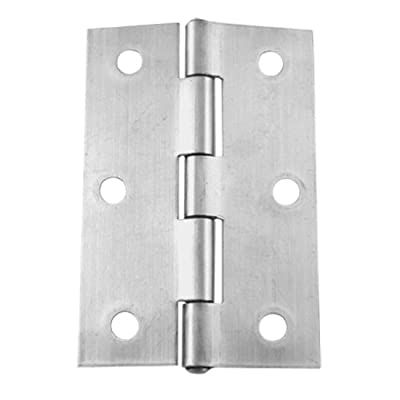 """Uxcell a11120200ux0489 Uxcell a11120200ux0489 2 Pcs 3"""" Length Satin Nickel Metal Butt Cabinet Door Hinges, Metal (Pack of 2)"""