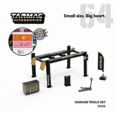 RWB Garage Tools Set of 5 Pieces with Stickers RAUH-Welt BEGRIFF for 1/64 Model Cars by Tarmac Works T64A-001-RWB: Toys & Games