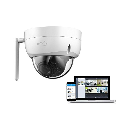 Oco Pro Dome v2 WiFi Weatherproof and Vandal-Proof Security Camera with Micro SD Card and Cloud Storage - 1080p Day/Night Outdoor/Indoor IP Surveillance System with Remote Monitoring