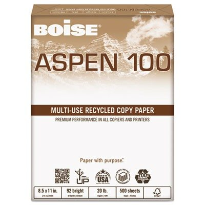 Boise ASPEN 100/% Multi-Use Recycled Paper 92 Bright 20lb 8-1//2 x 14 White 054924