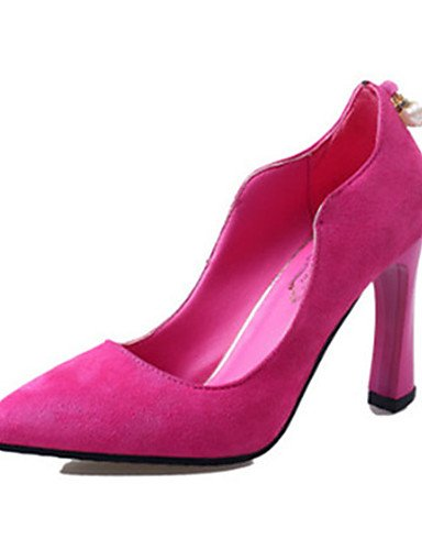 ZQ Zapatos de mujer-Tac¨®n Stiletto-Tacones-Tacones-Casual-Vell¨®n-Negro / Rosa / Bermell¨®n , pink-us8 / eu39 / uk6 / cn39 , pink-us8 / eu39 / uk6 / cn39 black-us8 / eu39 / uk6 / cn39