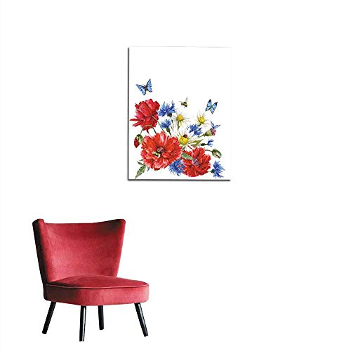 """longbuyer Photo Wall Paper Summer Vintage Watercolor Greeting Card with Blooming Red Poppies Mural 24""""x36"""""""