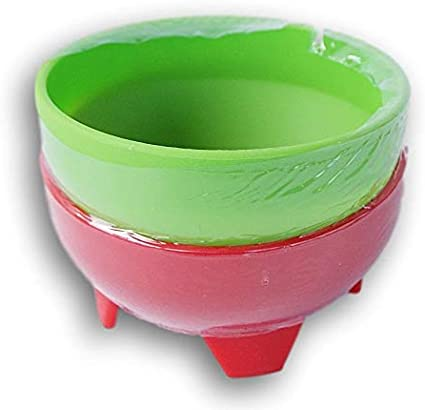 Mexican Style Miniature Salsa Dip Bowls 2 Ct Red and Green