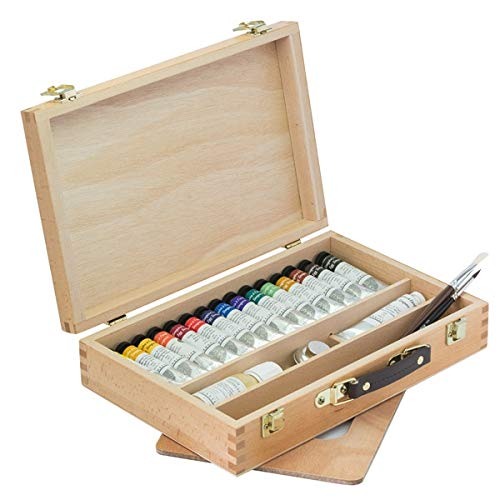 - Sennelier Egg Tempera Set Featured in a Beautiful Wooden Box, Includes The Best 15 Colors of Sennelier 2lml Tubes and a Larger Titanium White, Egg Tempera Medium, Metal Mix Cup, Pa