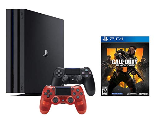 PlayStation 4 Call of Duty Black Ops IIII and 4K HDR PlayStation 4 Pro 1 TB Console with Extra Red Crystal Dualshock 4 Wireless Controller (Split-Screen Play Available)