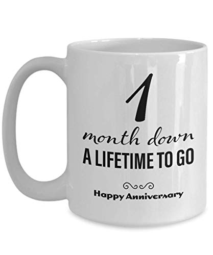 1 Month Anniversary Gifts for Boyfriend - One Month Anniversary Gifts for Girlfriend - Happy Anniversary Coffee Mug for Him Her Men Women Couple Friend Lesbian Gay Long Distance