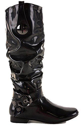 FrontCover Ladies Womens Winter Biker Riding Flat Low Heel Calf Knee High Boots Size 3-8 Style K - Black cKgfiOTkhs