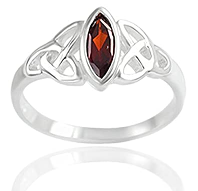 DTPSilver - 925 Sterling Silver and Blue Topaz Celtic Trinity Knot Ring UcpW2BlGkq