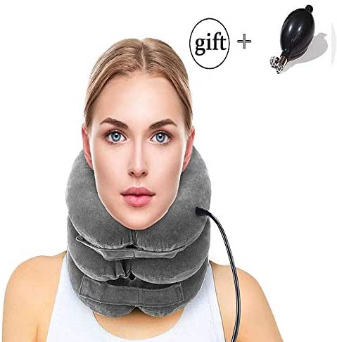 Adjustable Neck Stretcher - Cervical Neck Traction Device, Inflatable Collar Brace, Neck Support, Ideal for Spine Alignment at Home and Chronic Neck Pain Relief