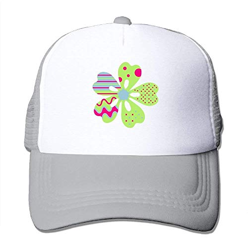 ZOZGETU Cherry Blossom with Stripes Spots and Waves Big Foam Snapback Caps Mesh Back Adjustable Cap Baseball Cap