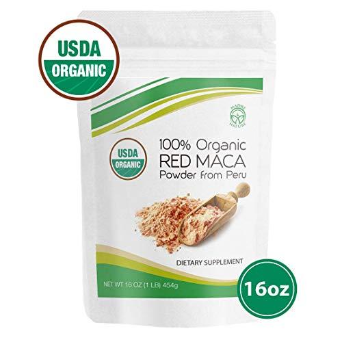 Madre Nature - 100% Peruvian Organic Gelatinized Red Maca Powder - (1LB) - non-GMO - Vegan - Gluten Free (16oz) (Best Red Maca Powder)