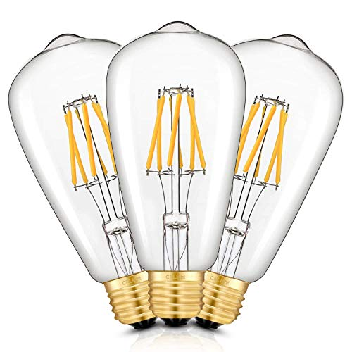 CRLight 6W Dimmable 700LM LED Edison Bulb 2700K Warm White, 60W Equivalent E26 Medium Base, Vintage ST64 Clear Glass LED Filament Light Bulbs, Pack of 3 ()