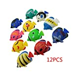 Dabixx Floating Plastic Tropical Fishes, 12Pieces DIY Floating Plastic Tropical Fishes Aquarium Decoration Baby Bath Toy - Color Randomly