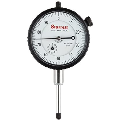 Image of Starrett 25-441J Dial Indicator, 0.375' Stem Dia., Lug-on-Center Back, White Dial, 0-100 Reading, 0-1' Range, 0.001' Graduation