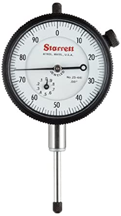 "Starrett Dial Indicator, Inch, 0.375"" Stem Diameter"
