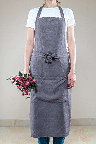 Linen Adjustable Kitchen Chef Grey Apron Japanese Style with Pocket, Kitchen Cooking Clothes Gift for Women Men Chef by Saint Linen