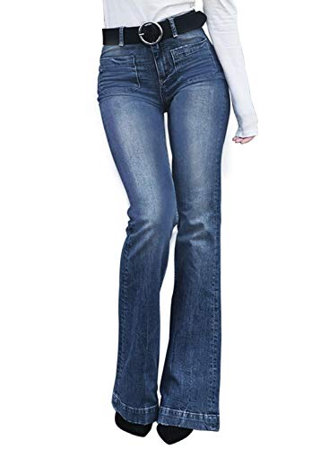 Aleumdr Classic Bell Bottom Leggings for Women Plus Size Pocket Trumpet Flare Jeans Size M Blue