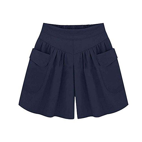 Huateng Estivi Larga Larghi Pantaloni Blu Navy Vita A Da Casual Alta Gamba Donna TrHTwSqZ