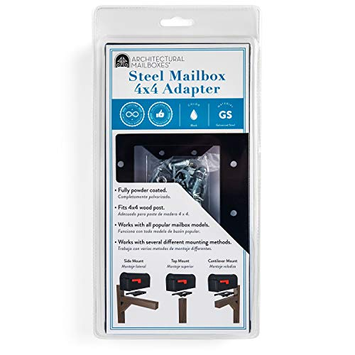 """ARCHITECTURAL MAILBOXES 4x4 Steel 7540B-10 Mailbox Adapter Plate, 4"""" x 4"""", Black"""