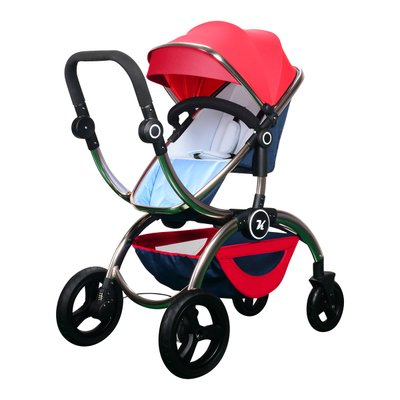 Kuudy Baby Stroller High-view Two-way Available Folding 2 in 1 Carrier Double Handle Tube, Aluminum Alloy Frame (Red) by Kuudy