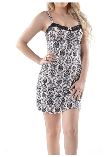 G-Allure-Womens-Vintage-Damask-Babydoll-Sleep-Lingerie