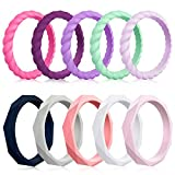 Mokani 10 Pack Silicone Wedding Ring for Women, Thin and Braided Rubber Band, Fashion, Colorful, Comfortable fit, Skin Safe,Size 8