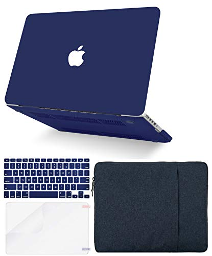 """KECC Laptop Case for MacBook Air 13"""" w/Keyboard Cover + Sleeve + Screen Protector (4 in 1 Bundle) Plastic Hard Shell Case A1466/A1369 (Matte Navy)"""