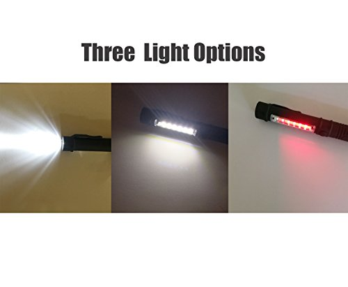 NewVan Tech 3 in 1 Multi Function LED Flashlight with Magnetic Base, Black, Pack of 3
