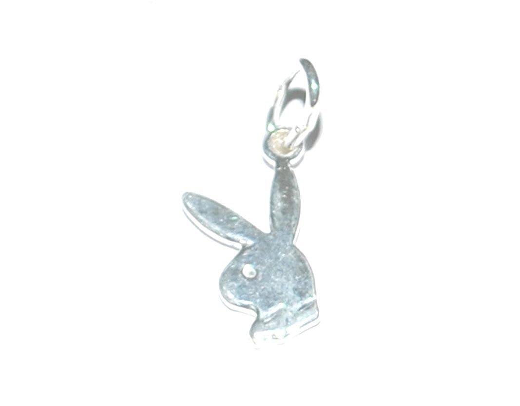 Massiv 925Sterling Silber klein Playboy Bunny Schmuck Geschenk Craft Halskette Anhänger/Charm–25mm Markylis FBASTSSPBBC