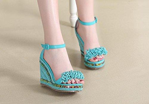 BaiLing Sandali di estate delle donne/cuneo Heel handmade maglia lavorato a maglia handmade paglia impermeabile/fondo spessa/nappa di piccole dimensioni, Green, CN34 - 84e88b