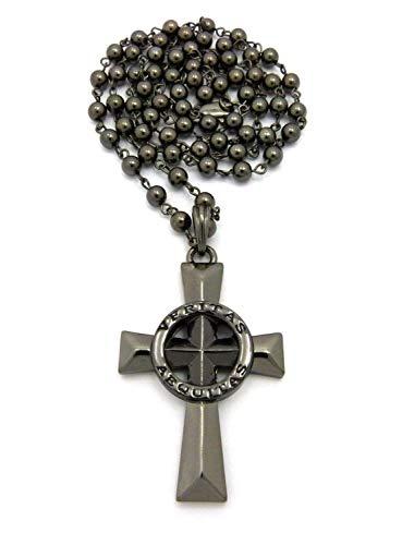 Shiny Jewelers USA. Mens Veritas AEQUITAS Cross Boondock Saints Pendant Charm Cuban Chain Necklace