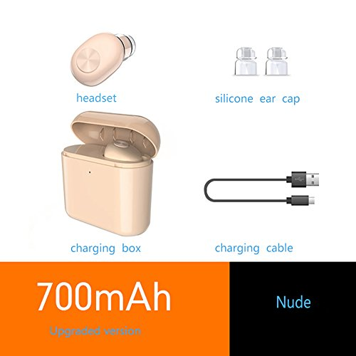 Bluetooth Headphone, HONTECH Wireless Earbuds 8 Hours Playtime Mini Earphones HD Microphone Bluetooth Headsets with Fast Charging Case 1pcs (Nude, 700mAh)