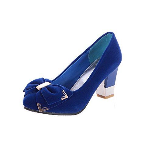 Amoonyfashion Femmes Fourreau À Talons Aiguilles Givrées À Bout Rond Fleurs-chaussures Bleues