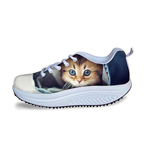 Dellukee Femmes Chaussures De Marche Coloré Maille Léger Athlétique Mode Sneaker Chaussures Mignon Chat