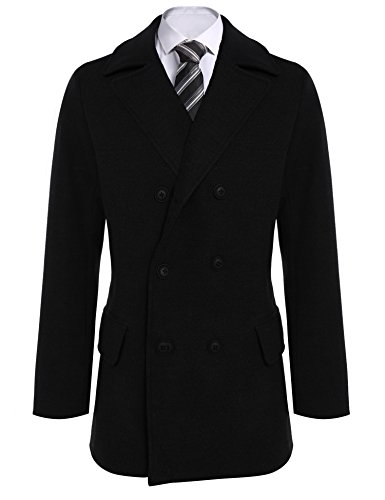 (Coofandy Men Winter Fashion Notched Collar Long Sleeve Double-breasted Classic)